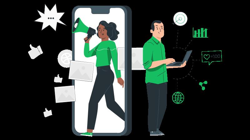 Imagem vetorizada de duas pessoas, uma mulher com megafone e um homem com um notebook analisando resultados