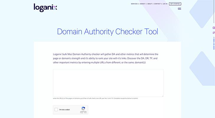 Loganix Domain Authority Checker Tool