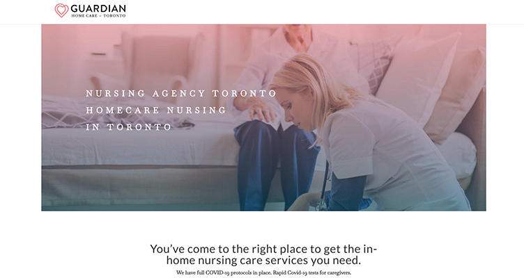 Header of the nursing agency in Toronto, Guardian Home Care