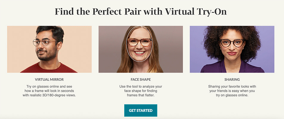 Picture of three people showcasing the virtual mirror, face shape and sharing functions of Zennioptical