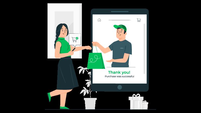 Imagem vetorizada de uma consumidora fazendo compras virtualmente