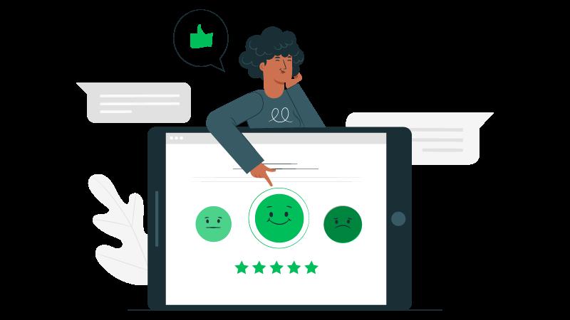 Imagem vetorizada de uma consumidora mostrando sua satisfação