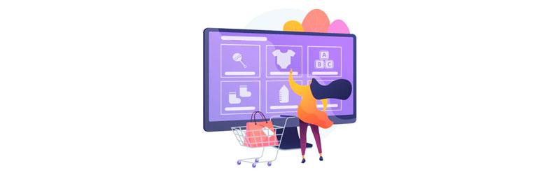 Clinete escolhendo produtos em uma vitrine virtual de uma tv