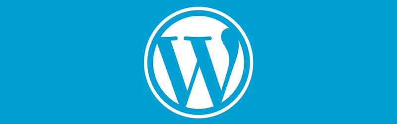 WordPress logo in a blue background