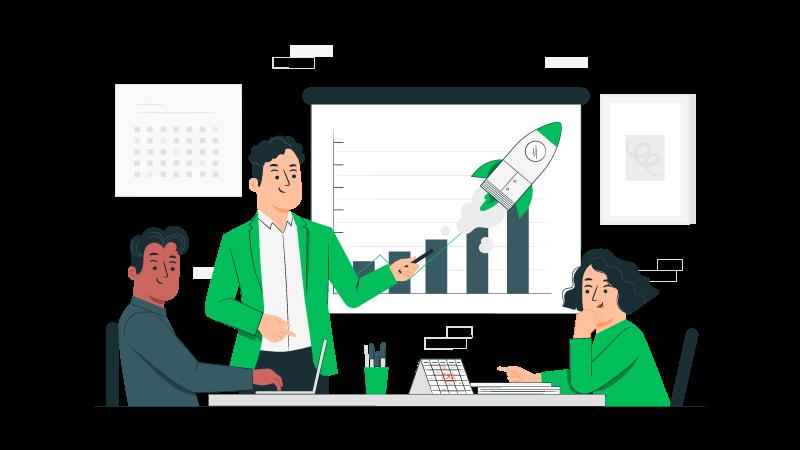 Imagem vetorizada de três pessoas em reunião para fazer análise da concorrência
