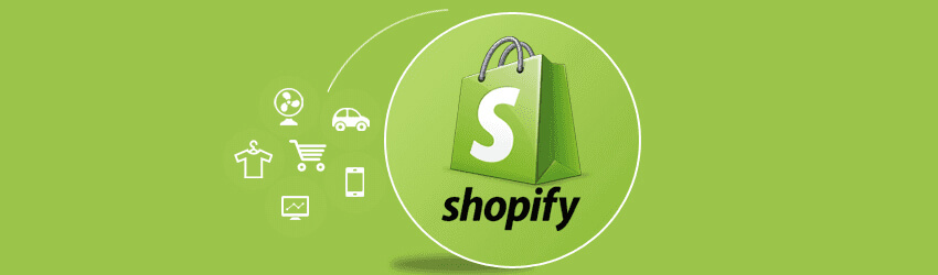 On the center of a green backgroung there ir shopify logo and on the left side there are some icons of a car, a computer, a cart, a t-shirt, a fan, and a smartphone
