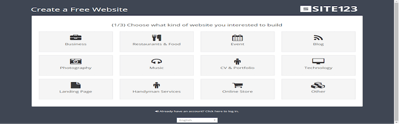 Site 123 webpage where it shows its website categories