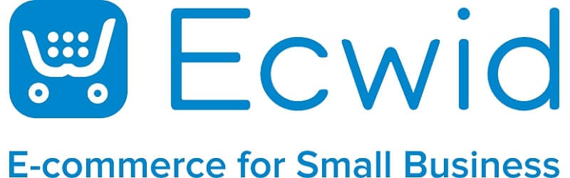 """Ecwid logo written in blue, on the left side there is a shopcart icon and unde the brand's name it's' written """"E-commerce for Smal Businessl"""""""
