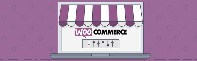 In a purple background, there is a laptop illustration where it's written the Woo Commerce logo on the screen