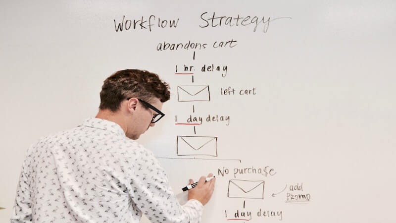 The image show a white men writing ond a board about workflow strategy