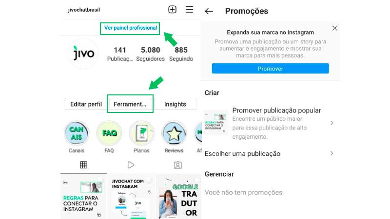 Print Screen de como anunciar no Instagram através do impulsionamento de publicações