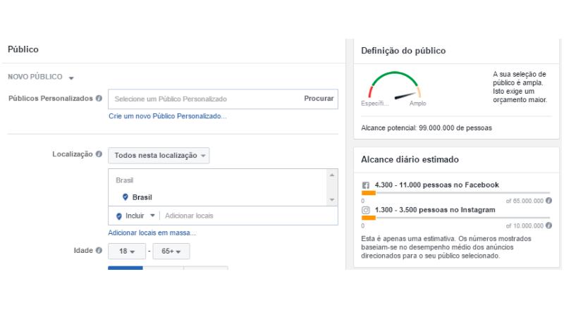 Print Screen de como anunciar no Instagram através do gerenciador de anúncios do Facebook e escolher o destino da sua campanha para gerar tráfego