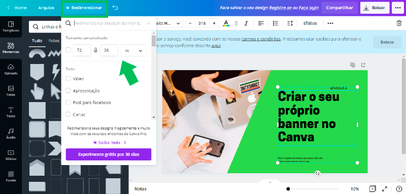 Print Screen do Canva para criar banner