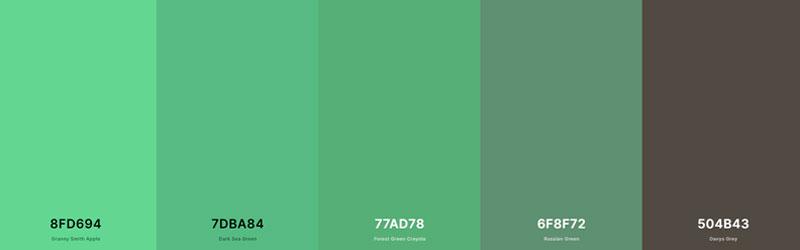 Paleta de cores verde do site Coolors