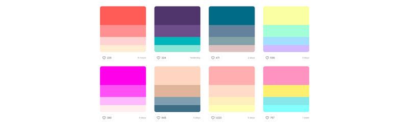 Diversas paletas de cores do Color Hunt