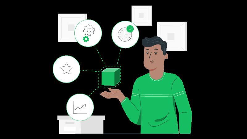 Imagem vetorizada de um homem com um cubo observando estratégias de 4Cs do Marketing