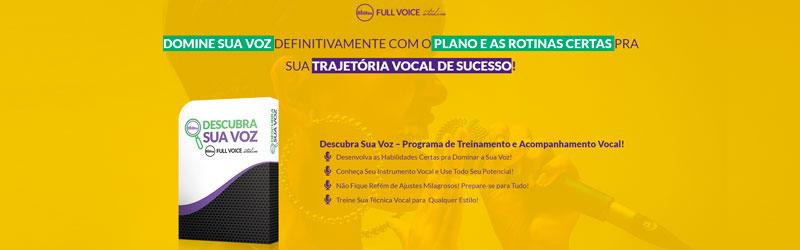 Captura de tela da página do curso de canto Full Voice