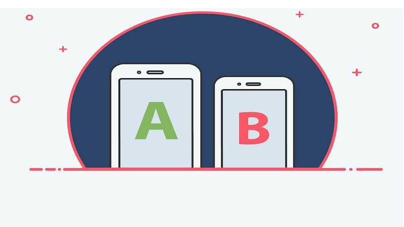 """The image show 2 smartphones in the one on the left it's written """"A"""", and on the one in the right it's written """"B"""""""