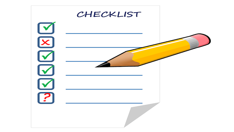 The image shows a checklist