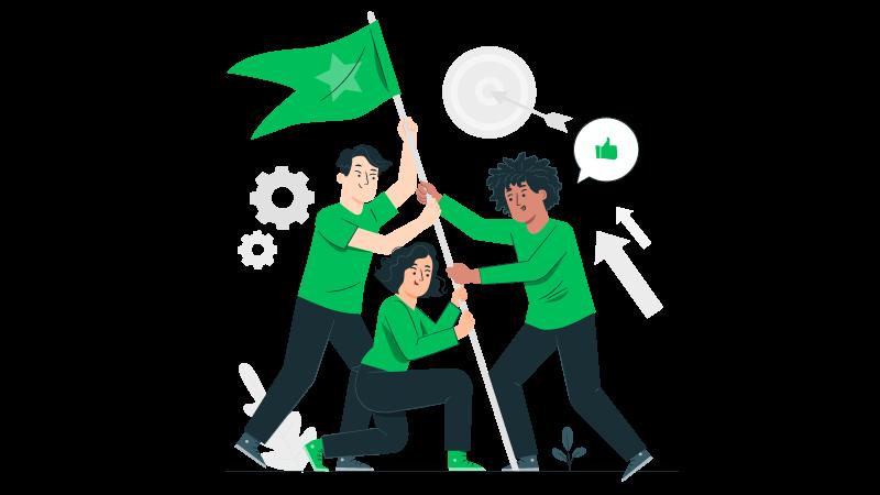 Imagem vetorizada de uma equipe erguendo uma bandeira