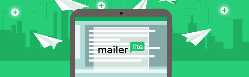 The image shows MailerLite Logo inside a laptop screen, and around it, there are several paper airplanes flying.