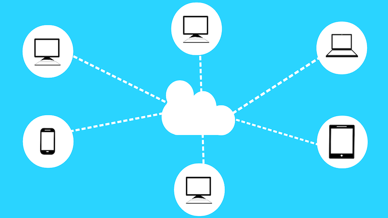 The images show a cloud in the center, there are several balloons with computers and mobile devices icons connected to it