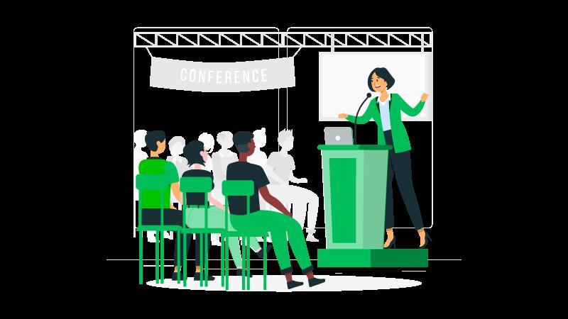 Imagem vetorizada de uma palestrante e sua audiência em uma conferência