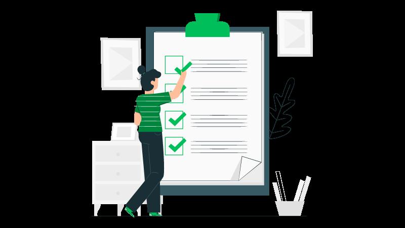 Imagem vetorizada de uma mulher fazendo um checklist em uma planilha