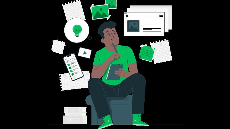 Imagem vetorizada de uma pessoa sentada pensando o que é marca