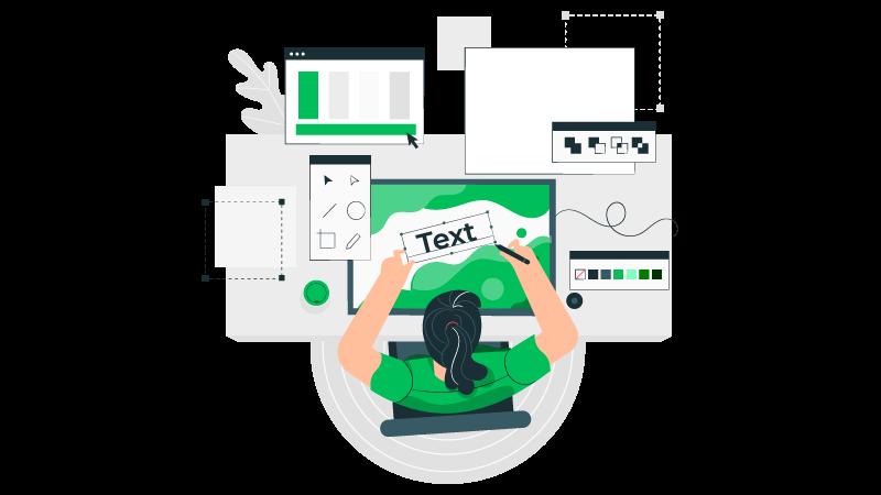 Imagem vetorizada de uma pessoa utilizando programas de edição para fazer uma marca