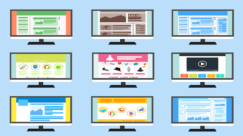 The image shows several screens with different types of websites
