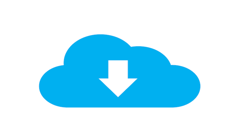 The image shows a blue cloud with a white arrow pointing down inside of it.