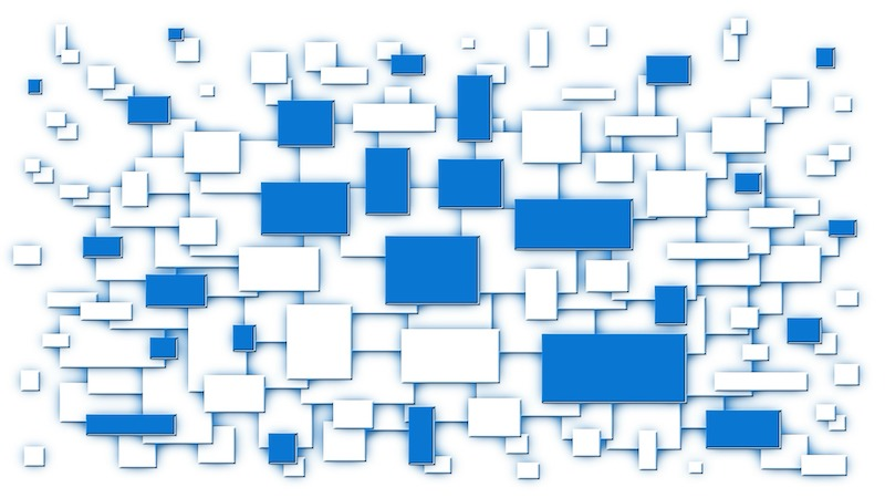 The image shows several blocks white and blue in different sizes