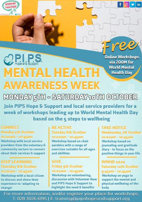 6 Day Workshops for Mental Health Awareness Week
