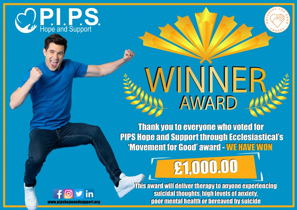 PIPS Hope and support wins £1,000 Movement for Good award