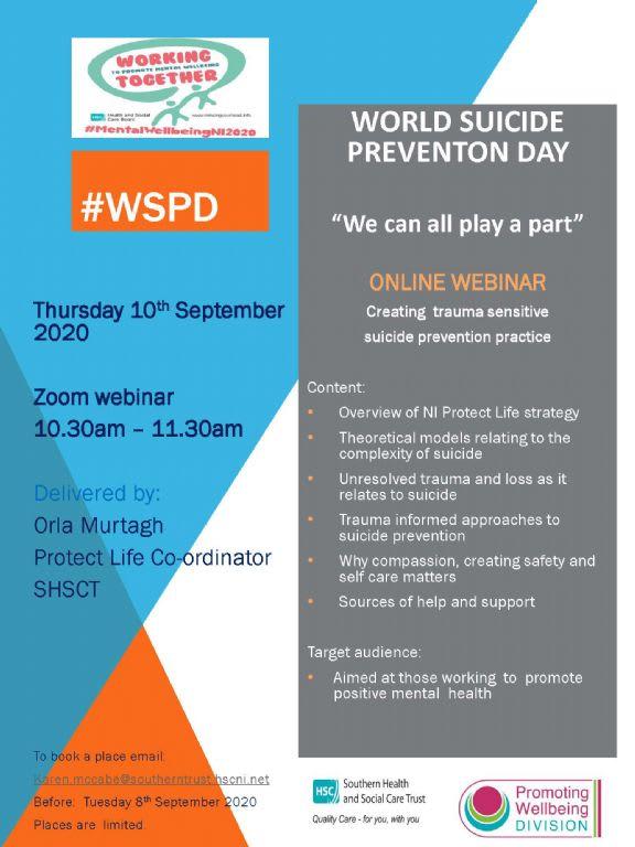 Online Webinar for World Suicide Prevention Day