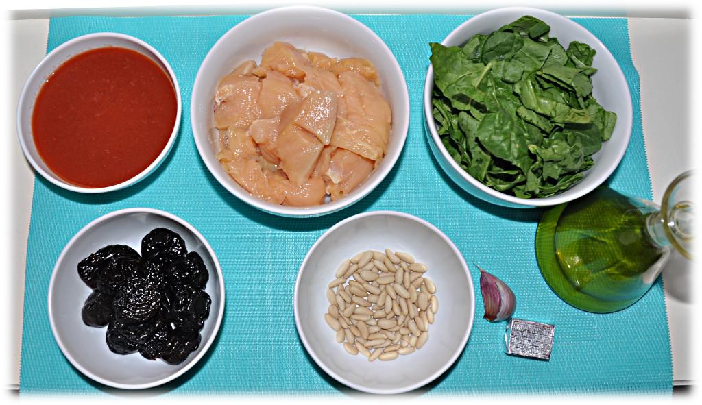 Ingredientes para la receta fácil de pollo con ciruelas y piñones