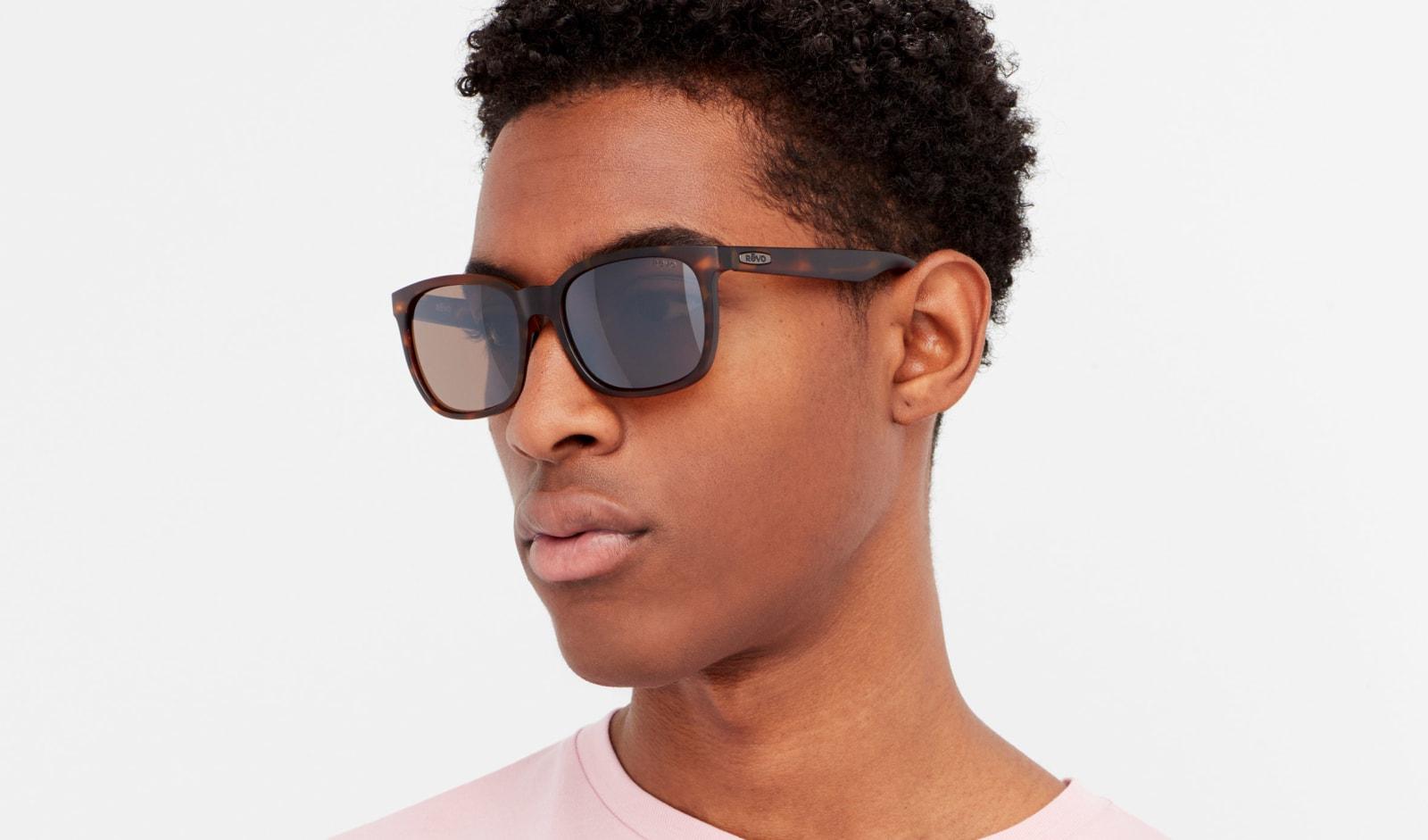 Revo Polarized Sunglasses Slater Modified Rectangle Frame 55 mm