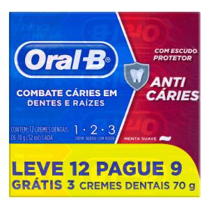 Pack Creme Dental Menta Suave Oral-B 1-2-3 Caixa 70g Cada Leve 12 Pague 9 Unidades
