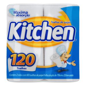 Toalha de Papel Folha Dupla Kitchen 19cm x 22cm Pacote 2 Unidades