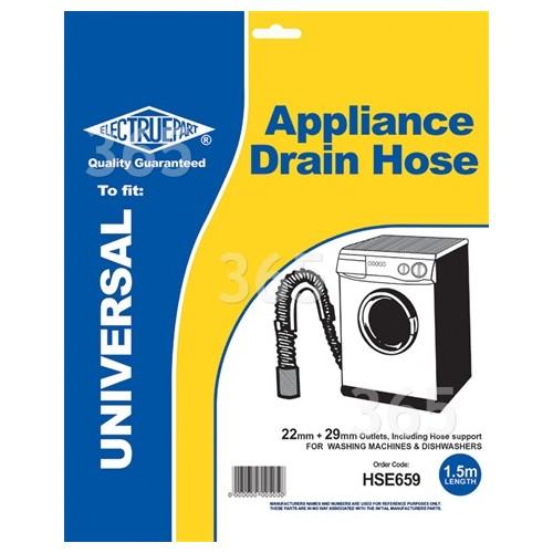 Universal 1,5m Waschmaschinen-Ablaufschlauch - Gerade Enden 22mm / 29mm Innendurchmesser