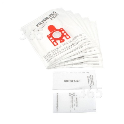 FJM Filter-Flo Synthetische Staubsaugerbeutel (5er Packung Einschl. 2 Zuschneidbare Filter) - BAG306