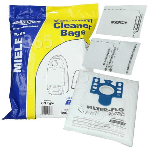 GN 3D Filter-Flo Synthetische Staubsaugerbeutel (4er Pack Mit 2 Zuschneidbaren Filtern) - BAG338