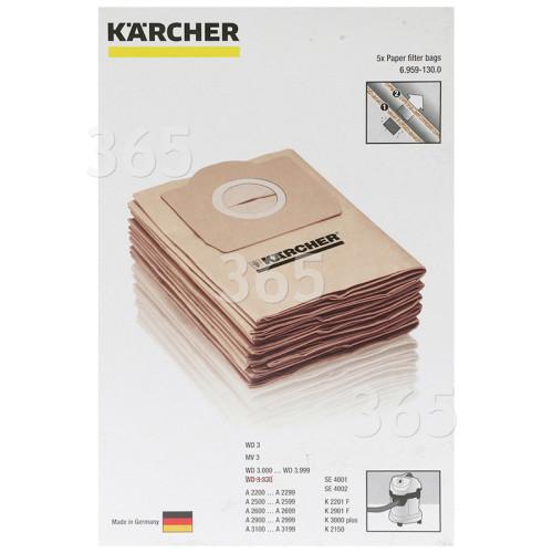 Karcher Staubsauger-Papierfilterbeutel (5er Packung)