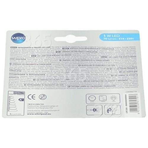 Lampadina 1W SES (E14) Frigorifero /congelatore Whirlpool