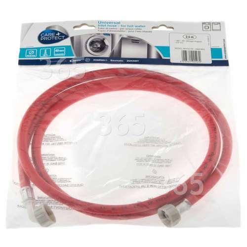 Care+Protect Universal Warmwasser-Einlaufschlauch (rot) - 2,5m - Gerade / Abgewinkelt