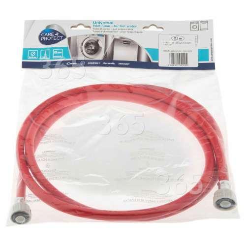 Care+Protect Universal Warmwasser-Einlaufschlauch (rot) - 2,5m - Gerade / Gerade