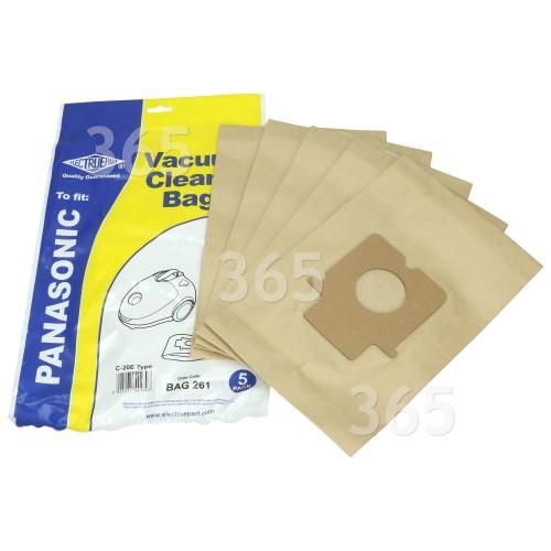 Incluye 5 Bolsas del Polvo Original Panasonic C20E bolsas de papel para aspirador