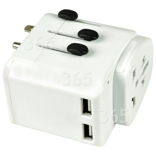 Welt-Reiseadapter Mit Doppel-USB-Schnittstellen