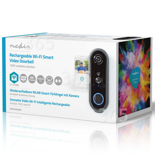 Nedis SmartLife 1080p Aufladbare Video-Türsprechanlage - Grau